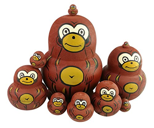 Winterworm Cute Lovely Animal Theme Big Belly Shape Brown Monkey Pattern Wooden Handmade Russian Nesting Dolls Matryoshka Dolls Set 10 Pieces for Kids Toy Home Decoration ()