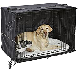 Large Dog Crate Starter Kit | One 2-Door iCrate, Pet Bed, Crate Cover & 2 Pet Bowls | 42-Inch Ideal for Large Dog Breeds