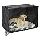 iCrate Dog Crate Starter Kit | 42-Inch Dog Crate Kit Ideal for LARGE DOG BREEDS Weighing 71 - 90 Pounds | Includes Dog Crate, Pet Bed, 2 Dog Bowls & Dog Crate Cover | 1-YEAR MIDWEST QUALITY GUARANTEE