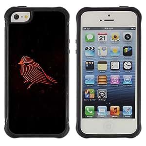 Suave TPU GEL Carcasa Funda Silicona Blando Estuche Caso de protección (para) Apple Iphone 5 / 5S / CECELL Phone case / / Firebird Red Robin Black Minimalist /