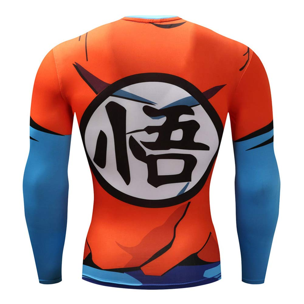 Lichee Men/'s 3D Compression Dragon Ball Z Shirts Long Sleeve Printed Super Muscle Anime Tee