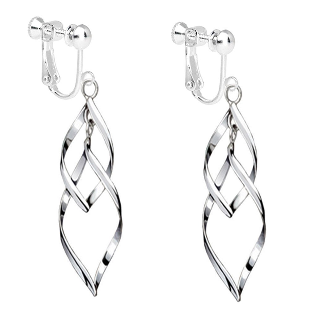 Fashion Womens White Gold Plated Clip on Earrings Hollow Leaf Dangle Earrings Wedding Prom by CNCbetter