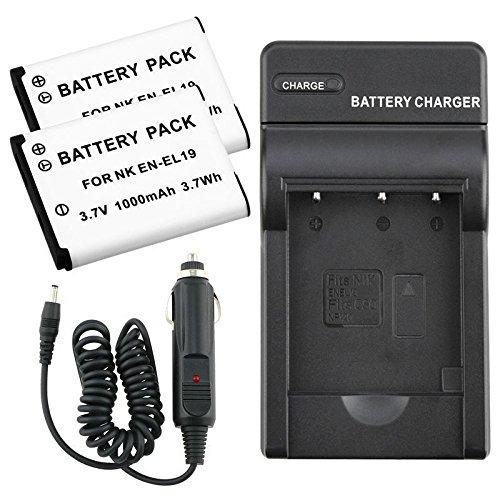 2-x-en-el19-enel19-battery-charger-for-nikon-coolpix-s32-s100-s6600-s6800