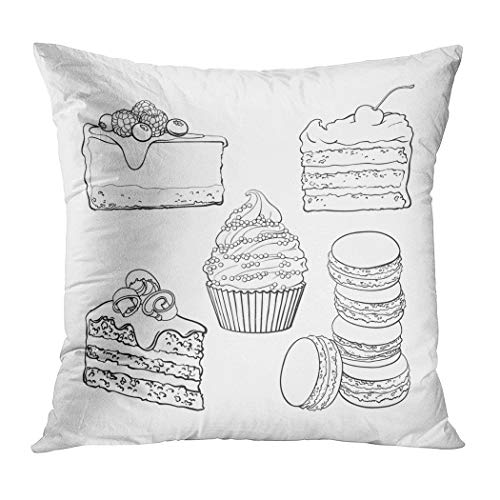 - Llsty Throw Pillow Cover 18 x 18 inches Black White Dessert Collection Cupcake Chocolate Polyester Soft Square for Couch Sofa Bedroom