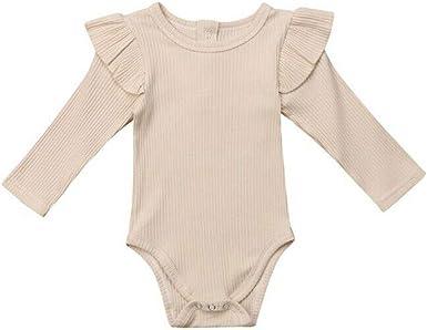 MAYOGO Ropa Recién Nacido bebé Niña Otoño Color sólido Volantes Ropa bebé Niña Manga Larga Camiseta