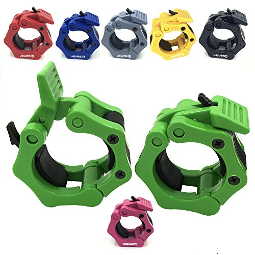 """Greententljs 2 Inch Barbell Clamps Quick Release Pair of Locking 2"""" Inch Pro ABS Locking Olympic Size Workout Professional Barbell Secure Snap Latch for Squat Weightlifting/Powerlifting (Green)"""