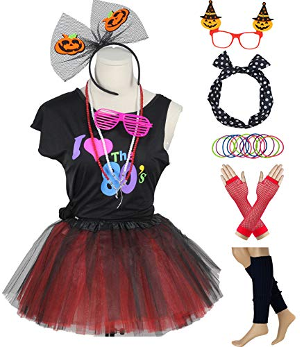 (80s Girls Costume Funky Pumpkin Accessories Outfit for Halloween 1980s Party (9-10,)