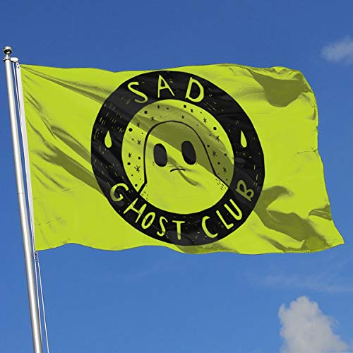 Sad Halloween Ghost 100% Polyester Single Layer Translucent Flags, Funny 3 X 5 Outdoor/Indoor Banner
