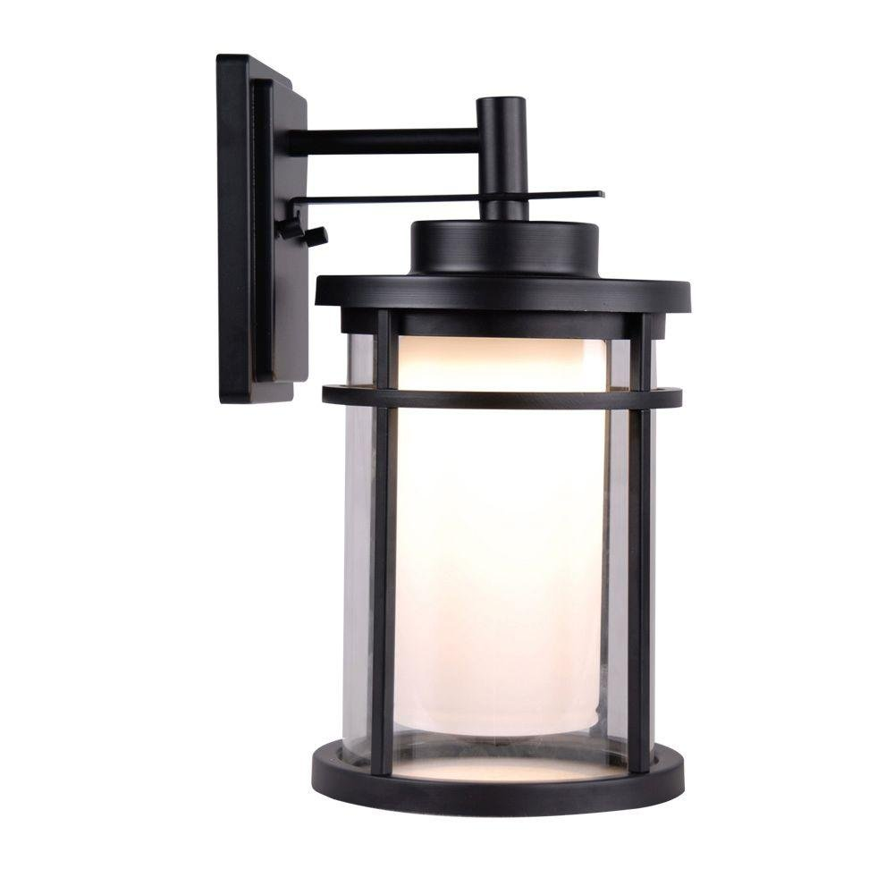 Home Decorators Collection Black Outdoor LED Medium Wall Light