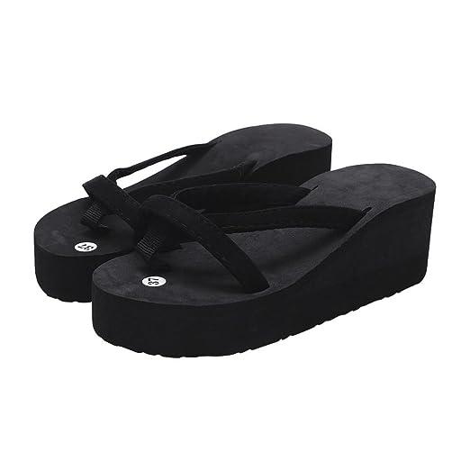 626e23c874ba4 Amazon.com  CieKen Women Summer Platform Sandals Beach Flat Wedge Patch Flip  Flops Lady Slippers Blue  Clothing