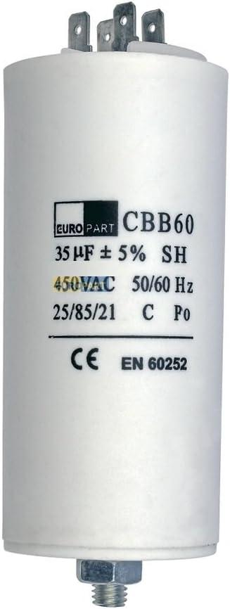 Condensador de arranque o condensador de motor 35 uF 450V con ranuras de conexion AMP