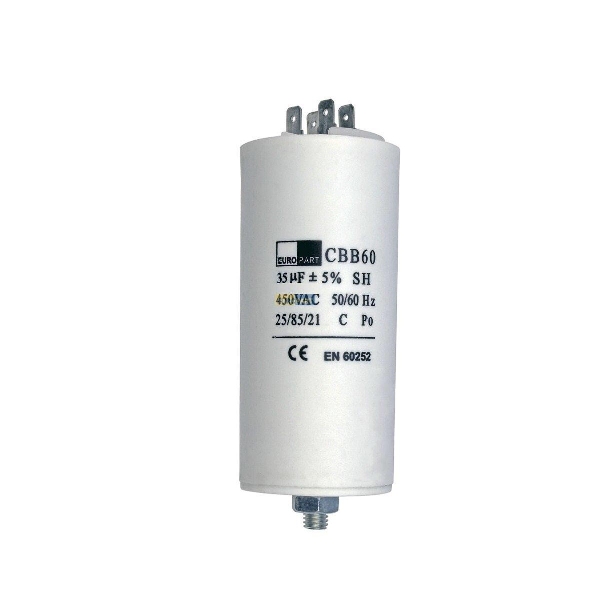 Condensador de arranque o condensador de motor 35 uF 450V con ranuras de conexion AMP Universal 35 µF