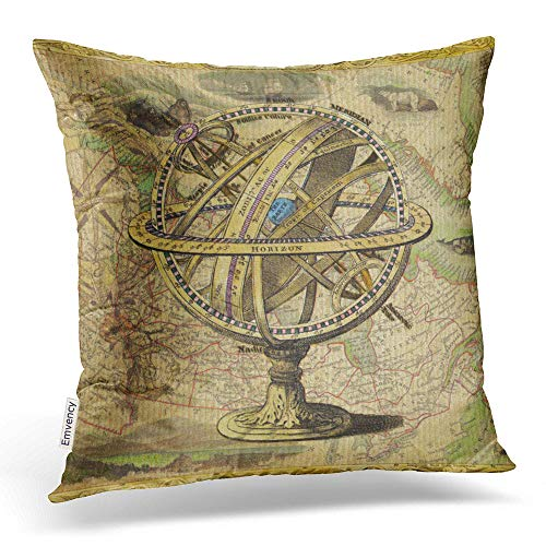 Accrocn Square Throw Pillow Covers Vintage Nautical Compass and Map Round Pillowcases Polyester 18 X 18 Inch with Hidden Zipper Home Sofa Cushion Decorative ()
