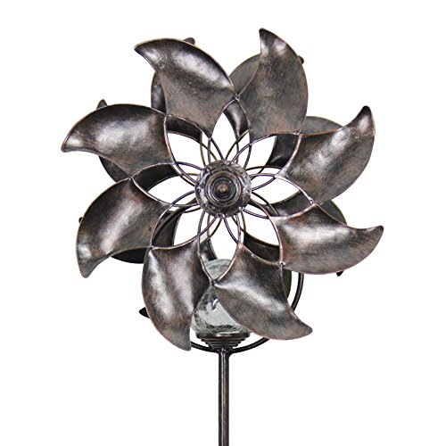 (Exhart Bronze Flowers Double Windmill w/Solar-Powered Crackle Ball Yard Stake - Solar Flowers Pinwheel Metal Stake, Metal Flowers Wind Spinner, Kinetic Art Garden Spinner, 8
