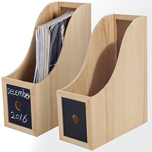 MyGift Wooden Desktop File Folder & Literature Organizer Rack, Chalkboard Magazine Holder Box, Set of 2