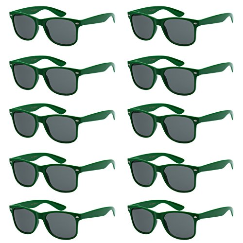 WHOLESALE UNISEX 80'S RETRO STYLE BULK LOT PROMOTIONAL SUNGLASSES - 10 PACK (Forest Green / Smoke, 52 mm)]()