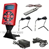 Hurricane HP-2 Red Digital LCD Tattoo Power Supply w/ 2 Clip Cord Foot Pedal