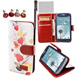xhorizon TM New Floral Leaf Style Wallet Folio Flip Magnet Stand Leather Case Cover with Credit Card Holder for Apple iPhone 4S 5S Samsung Galaxy S3 S4 S5 Note N7100 N9000 with stylus and xhorizon cleaning cloth