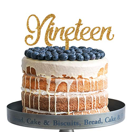 Amazon Nineteen Happy Birthday Cake Topper Gold Glitter Acrylic 19th Years Old Party Decoration Gifts Office Products
