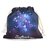 Constellation Zodiac Sign Sagittarius Velvet Drawstring Gift Bag Wrap Present Pouches Favor for Jewelry, Coin, Holiday, Birthday, Party, 12.6X17 Inches