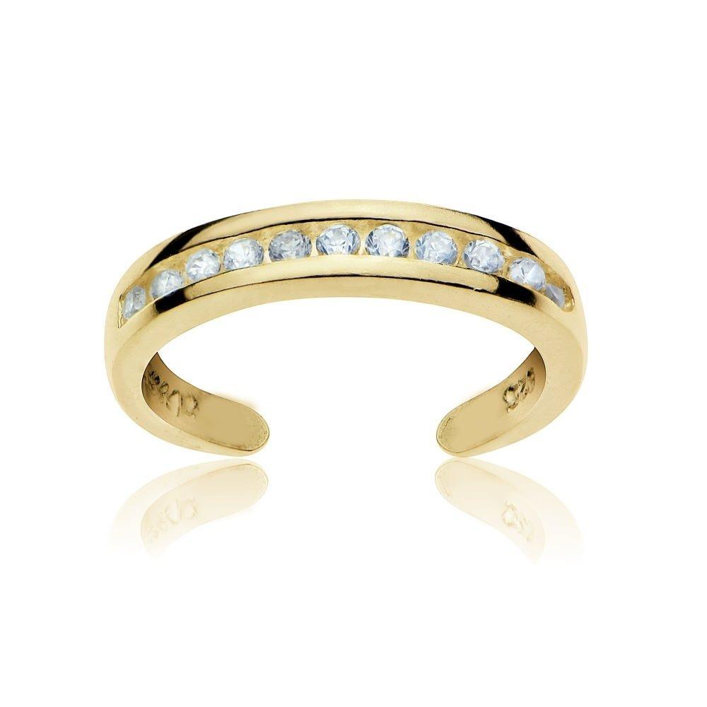 GemStar USA Sterling Silver Cubic Zirconia Channel-Set Polished Adjustable Toe Ring