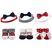 Hudson Baby Baby Girls' Headband and Socks Set, 6 Piece, Red, White/Blue, 0-9 Months
