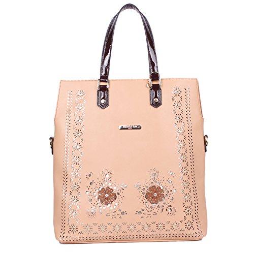 Casual [Beige] Tote Handbag For Women Laser Cut Floral Design Bag With Detachable Strap