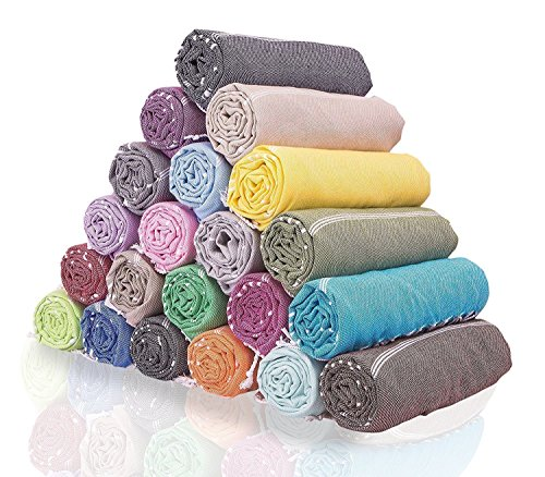 100% Cotton Multi-functional Oversized Turkish Peshtemal Towels for Beach Bed Sofa Camping Outdoor and Picnic Sheet Throw Blankets (Oversized Large 63 by 95 inches, 160x240cm) Random Color (Pack of 2) by Bekata