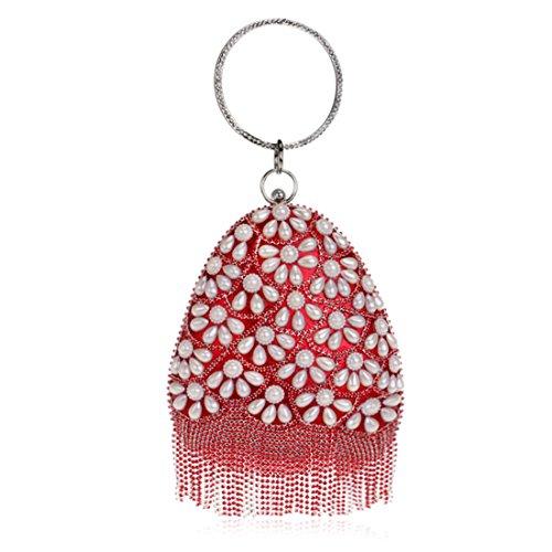 Bolso de tarde del monedero del embrague del bolso de embrague del bolso de la perla de las mujeres (Color : Black) Red