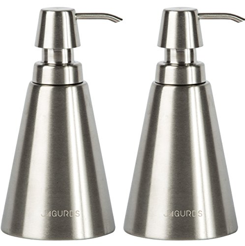 Jagurds Stainless Steel Soap Dispenser - Refillable, Reusable and Super Durable Bottle Pump for Essential Oils, Liquid Soap and Lotions in your Bathroom or Kitchen Sink
