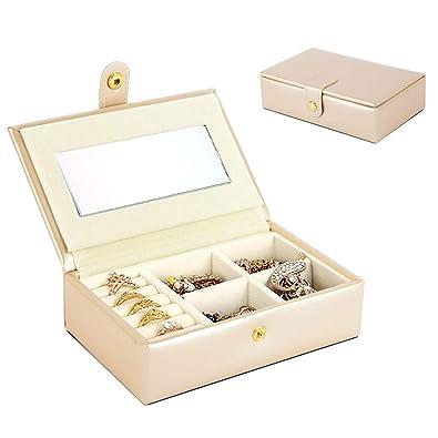 Sfesnid Mini Caja Organizadora de Joyas/Caja joyero PU con Espejo de Viaje Estuche de Almacenamiento para Anillos, Pendientes, Collares, Pulseras ...