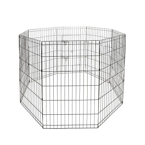 Magshion S-XXL 5 Size Dog Animal Popup Playpen Fence Large Metal Crate Wire Cage (XXL-48inch) (Large Dog For Fence Outside)