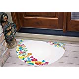 """3D Semicircle Floor Stickers Personalized Floor Wall Sticker Decals,Borders with Colorful Butterfly Silhouettes,Kitchen Bathroom Tile Sticker Living Room Bedroom Kids Room Decor Art Mural D31.5"""""""