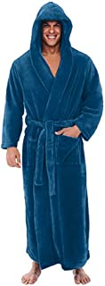 Luxury Man Hooded Dressing Gown Soft Plush Bath Robe for Men Housecoat Loungewear Bathrobe S-5XL