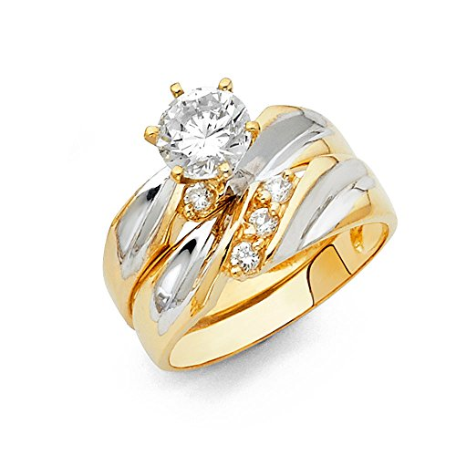 White Gold Bridal Ring - Wellingsale Ladies Solid 14k Two 2 Tone White and Yellow Gold Polished CZ Cubic Zirconia Round Cut Engagement Ring and Wedding Band, 2 Piece Matching Bridal Set - Size 7