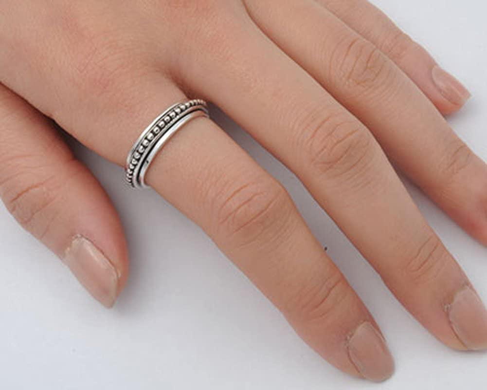 Mens Spinner Bali Ball Unique Ring New .925 Sterling Silver Band Sizes 6-14