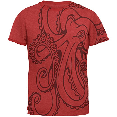 Animal World Octopus Outline Mens Ringer T Shirt Heather Red-Red MD]()