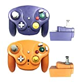 Poulep Classic 2.4G Wireless Controllers Gamepad with Receiver Adapter for Nintendo Wii U Gamecube NGC GC ( Purple and Orange)