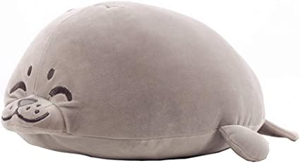 Stuffed Cotton Soft Animal Toy Grey 27.5 Large sunyou Plush Cute Seal Pillow