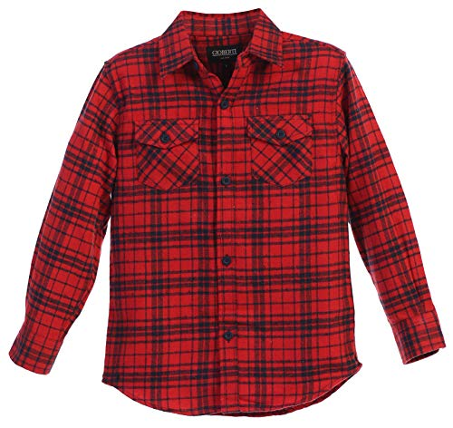 Gioberti Boys Long Sleeve Plaid Flannel, Red/Navy Cross Stitched, Size 14
