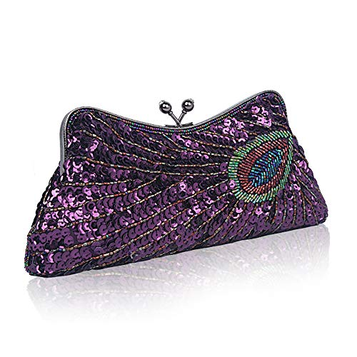 Cluth Glitter Ball Bags Ladies Beads Exquisite Bridal Bag Evening Women amp; Wedding Party Handmade Bag Sequin Fadirew Purple Vintage Peacock Beaded Handbag for O5qw616