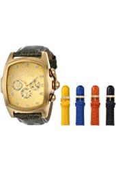 Invicta Men's 0068 Lupah Grand Collection Gold Tone Dial Black Leather Strap Watch