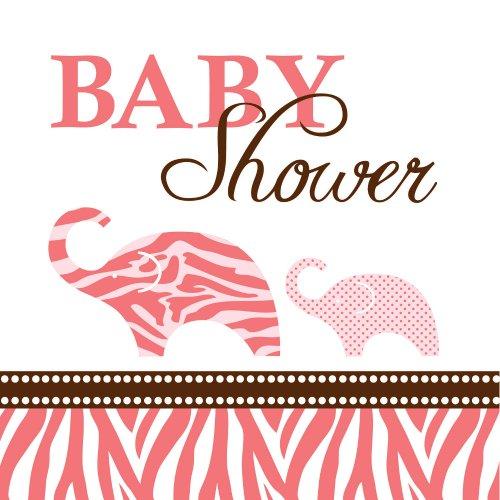 Creative Converting Baby Shower Wild Safari Pink 16 Count 3-Ply Paper Beverage (Pink Safari Baby Shower Invitations)