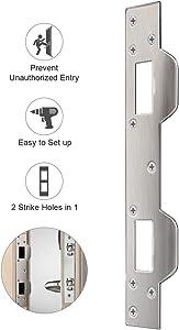 Door Security Plate, Door Reinforcement Plate, Dual Security Strike Plate, Door Security Devices with 5-1/2 inch to 6 inch Hole Spacing's On Latch and Deadbolt, Between Door Jamb and Door