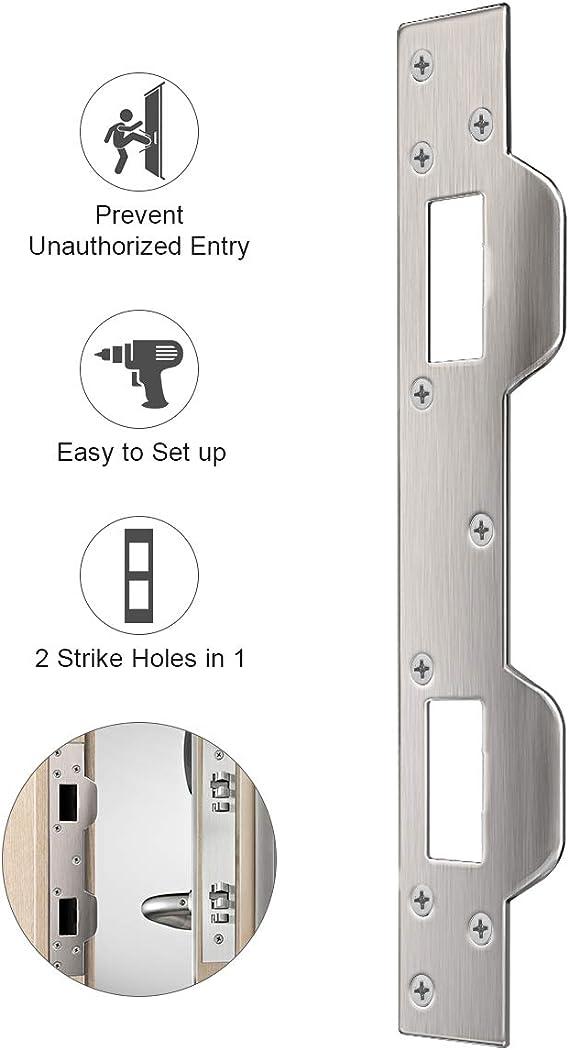 Door Security Plate Door Reinforcement Plate Dual Security Strike Plate Door Security Devices With 5 1 2 Inch To 6 Inch Hole Spacing S On Latch And Deadbolt Between Door Jamb And Door Amazon Com