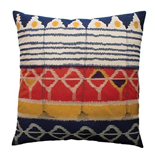 Koko Java 26 by 26-Inch Ikat Inspired Embroidery and Applique Cotton Sham Pillow, Euro, Red/Navy/Gold ()