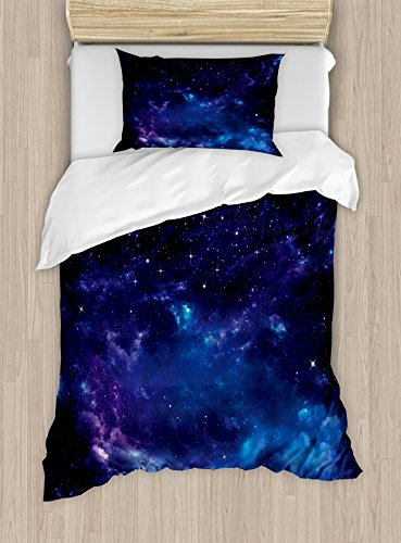 Ambesonne Sky Duvet Cover Set Twin Size, Space Illustration Night Time Universe Stars and Nebulas Distant Parts of Galaxy, Decorative 2 Piece Bedding Set with 1 Pillow Sham, Purple Blue Black