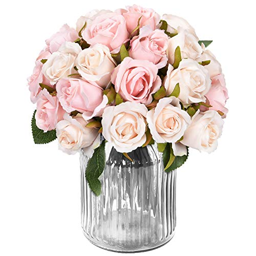 Centerpieces For Bridal Shower (Artificial Rose Bouquets Flower, Artificial Silky Flowers with 12 Heads Rose, Roses Artificial Flowers for DIY Wedding Bouquets Centerpieces Bridal, Party, Festival, Bar, Home Patio Yard Decor,)