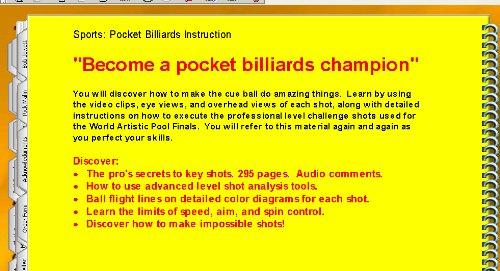 Instructional Trick Shot CD based eBook Artistic Pool Manual