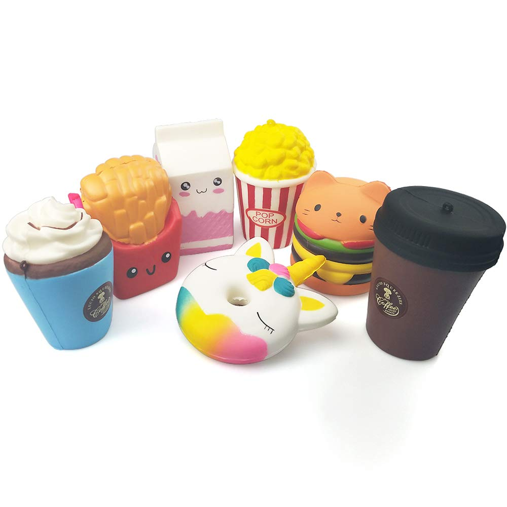 Squeeze Toy Jumbo Squishies Cute Unicorn Doughnut Hamburger Fries Popcorn MilkIceCreamCoffeeCupKawaii Cream Scented Squishies Slow Rising Decompression Squeeze Toys for Kids or Stress Relief